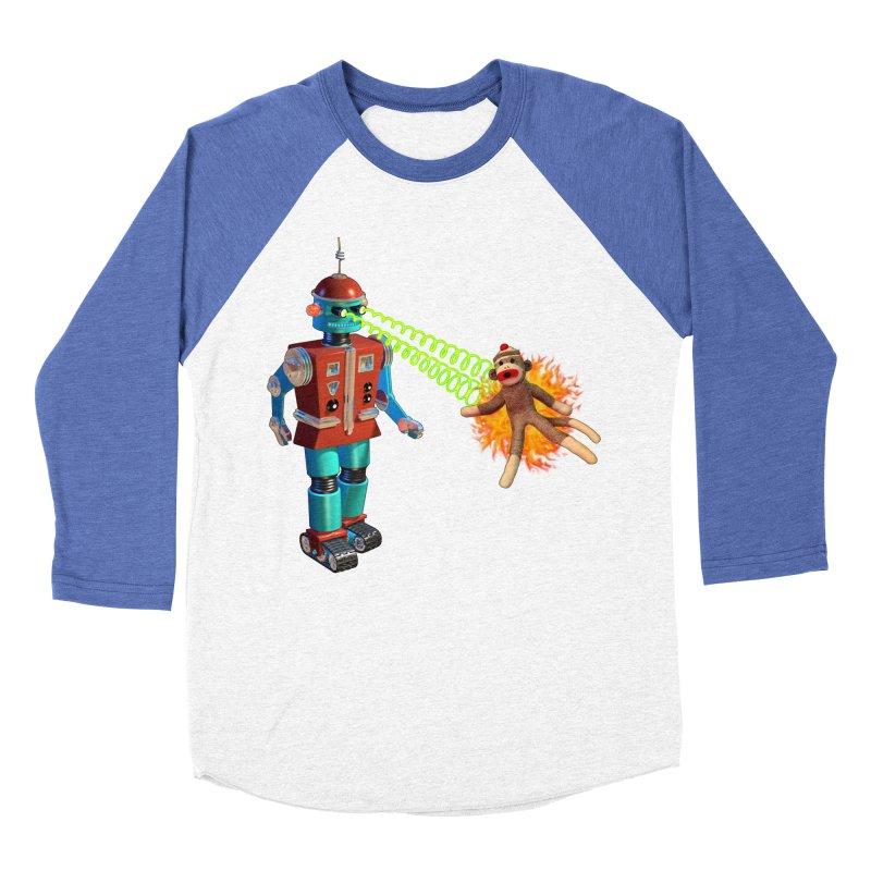 Robot vs Sock Monkey Women's Baseball Triblend T-Shirt by richgrote's Shop