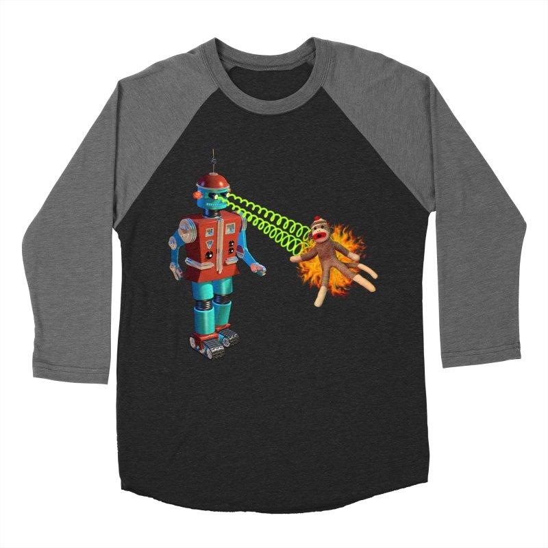 Robot vs Sock Monkey Men's Baseball Triblend T-Shirt by richgrote's Shop