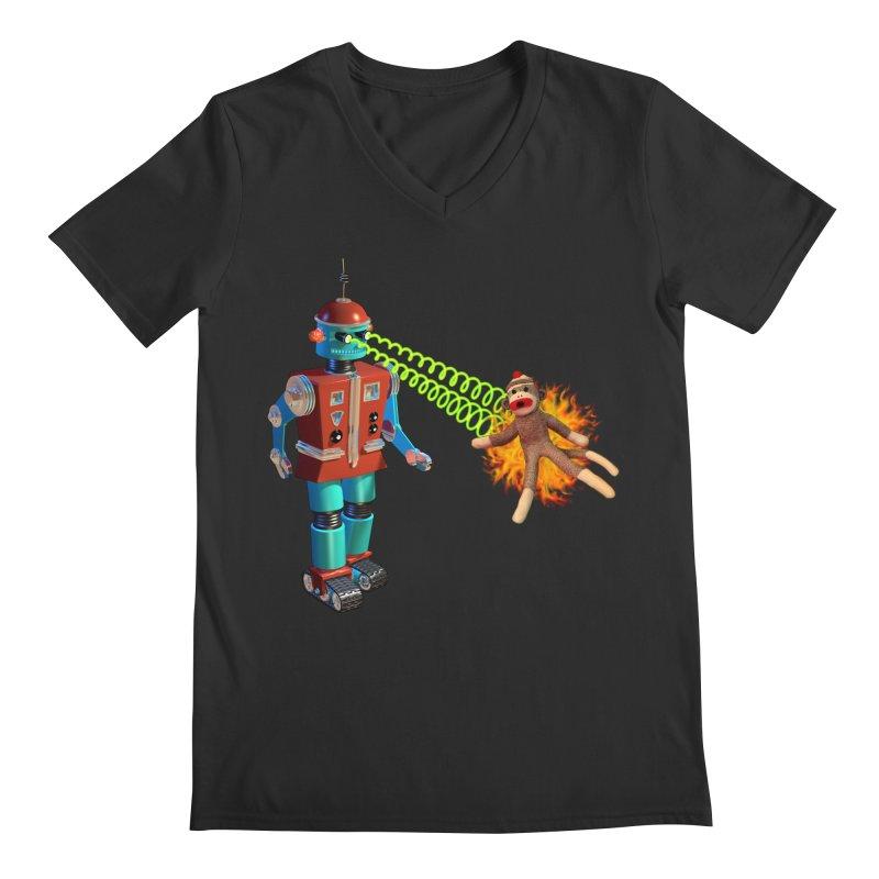 Robot vs Sock Monkey Men's Regular V-Neck by richgrote's Shop