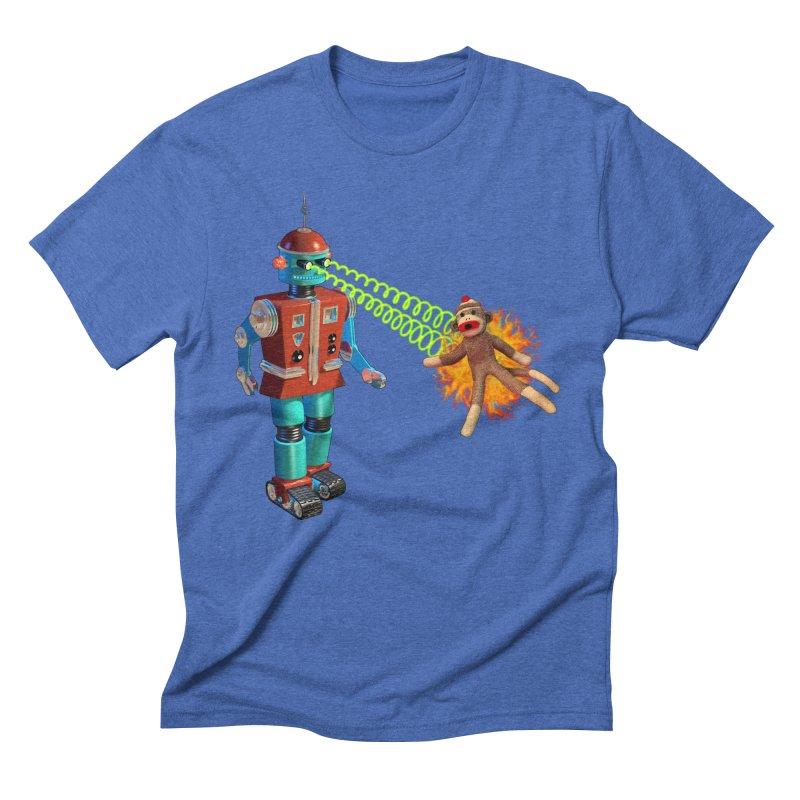 Robot vs Sock Monkey Men's Triblend T-shirt by richgrote's Shop