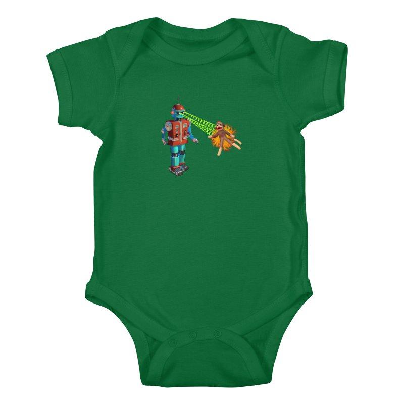 Robot vs Sock Monkey Kids Baby Bodysuit by richgrote's Shop