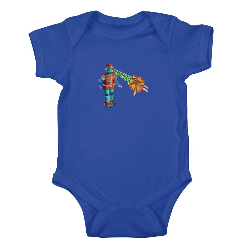 Robot vs Sock Monkey Kids Baby Bodysuit by richgrote's Shop