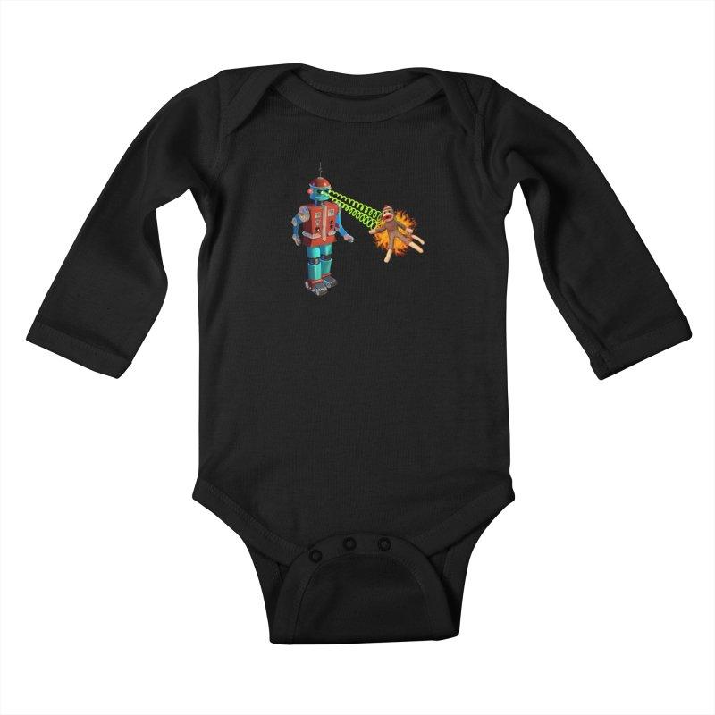 Robot vs Sock Monkey Kids Baby Longsleeve Bodysuit by richgrote's Shop
