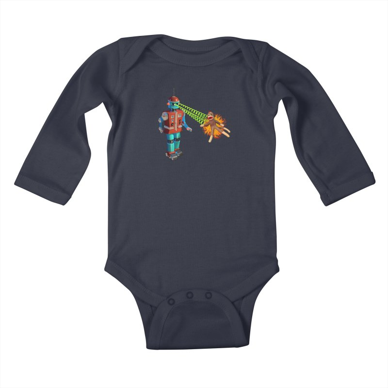 Robot vs Sock Monkey Kids Baby Longsleeve Bodysuit by richgrote's Shop