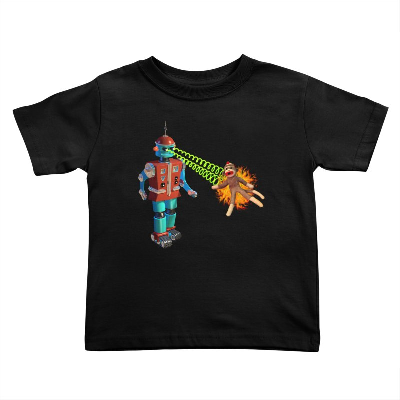 Robot vs Sock Monkey Kids Toddler T-Shirt by richgrote's Shop