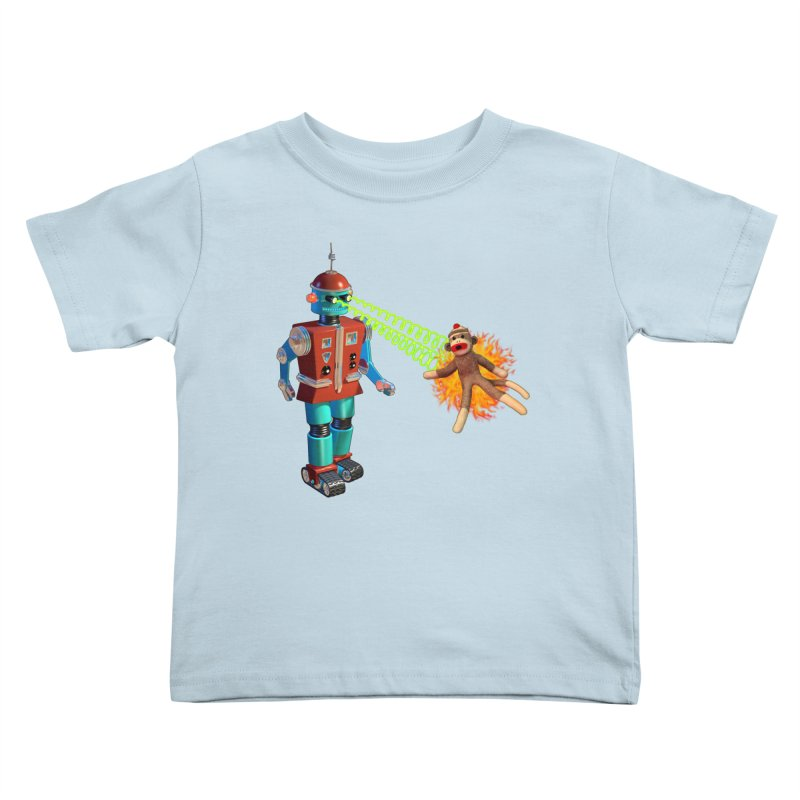 Robot vs Sock Monkey Kids Toddler T-Shirt by richgrote's Shop