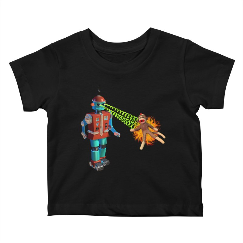 Robot vs Sock Monkey Kids Baby T-Shirt by richgrote's Shop