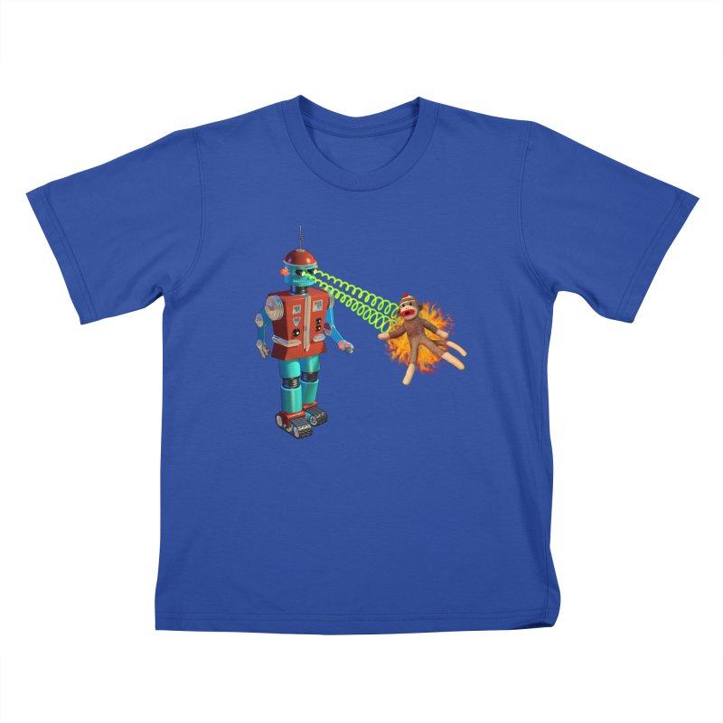 Robot vs Sock Monkey Kids T-shirt by richgrote's Shop