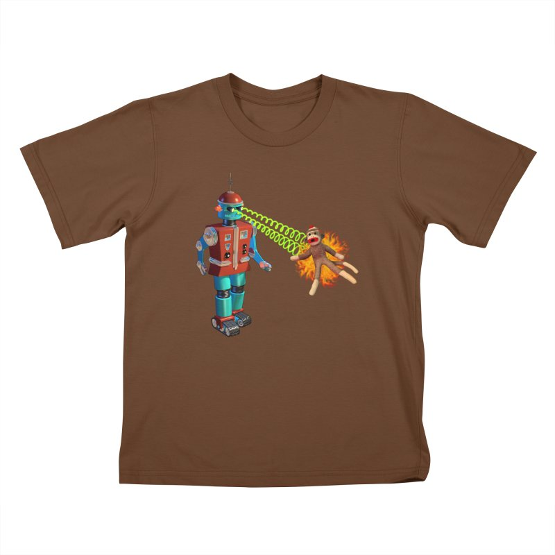 Robot vs Sock Monkey Kids T-Shirt by richgrote's Shop
