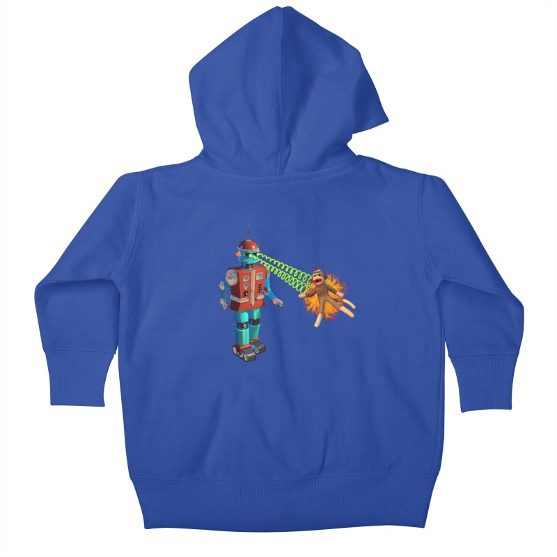 Robot vs Sock Monkey Kids Baby Zip-Up Hoody by richgrote's Shop
