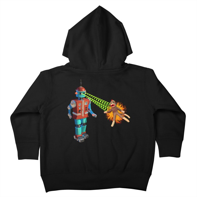 Robot vs Sock Monkey Kids Toddler Zip-Up Hoody by richgrote's Shop
