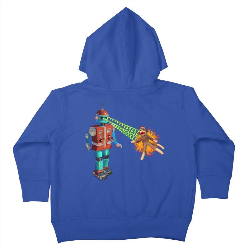 Robot vs Sock Monkey Kids Toddler Zip-Up Hoody by richgrote's Shop
