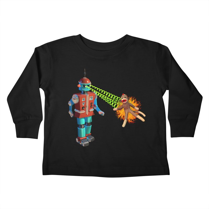 Robot vs Sock Monkey Kids Toddler Longsleeve T-Shirt by richgrote's Shop