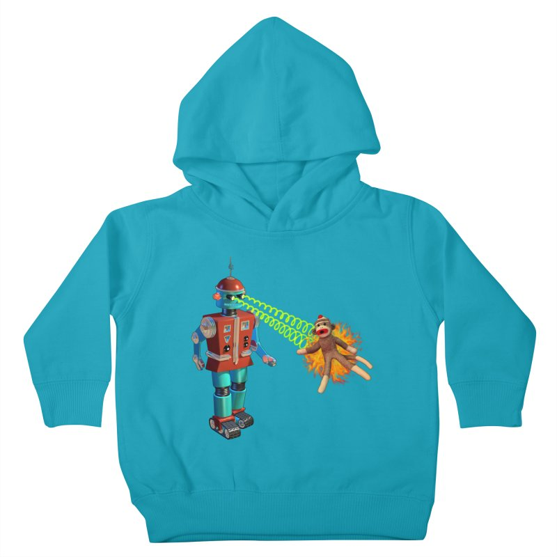 Robot vs Sock Monkey Kids Toddler Pullover Hoody by richgrote's Shop