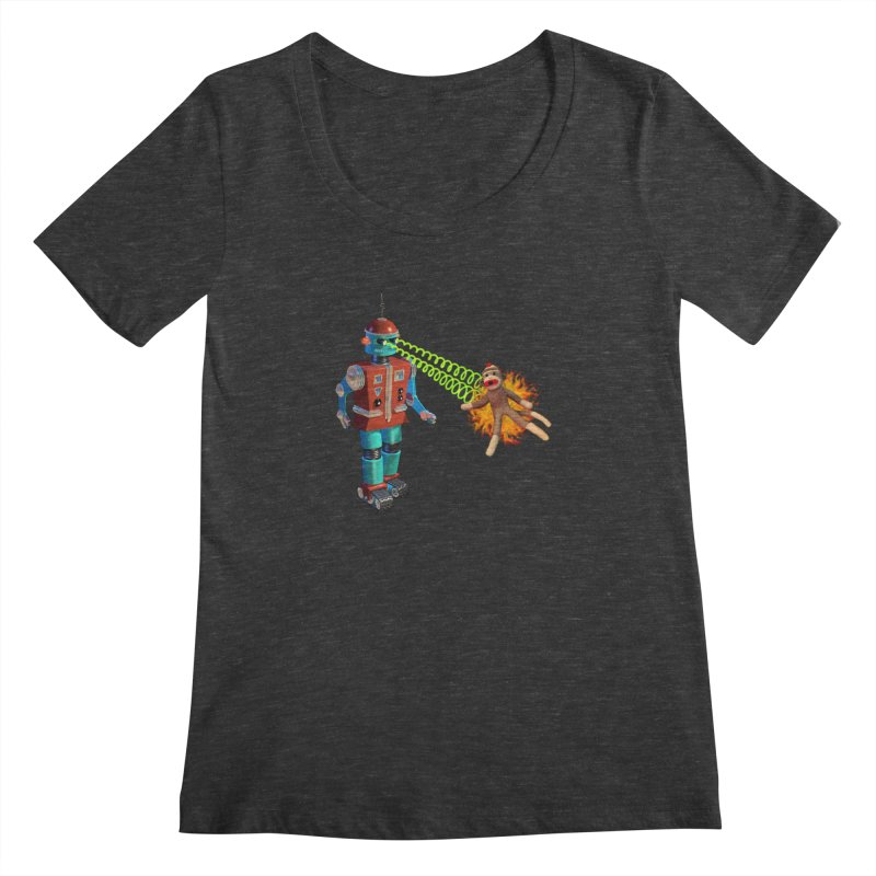 Robot vs Sock Monkey Women's Scoopneck by richgrote's Shop