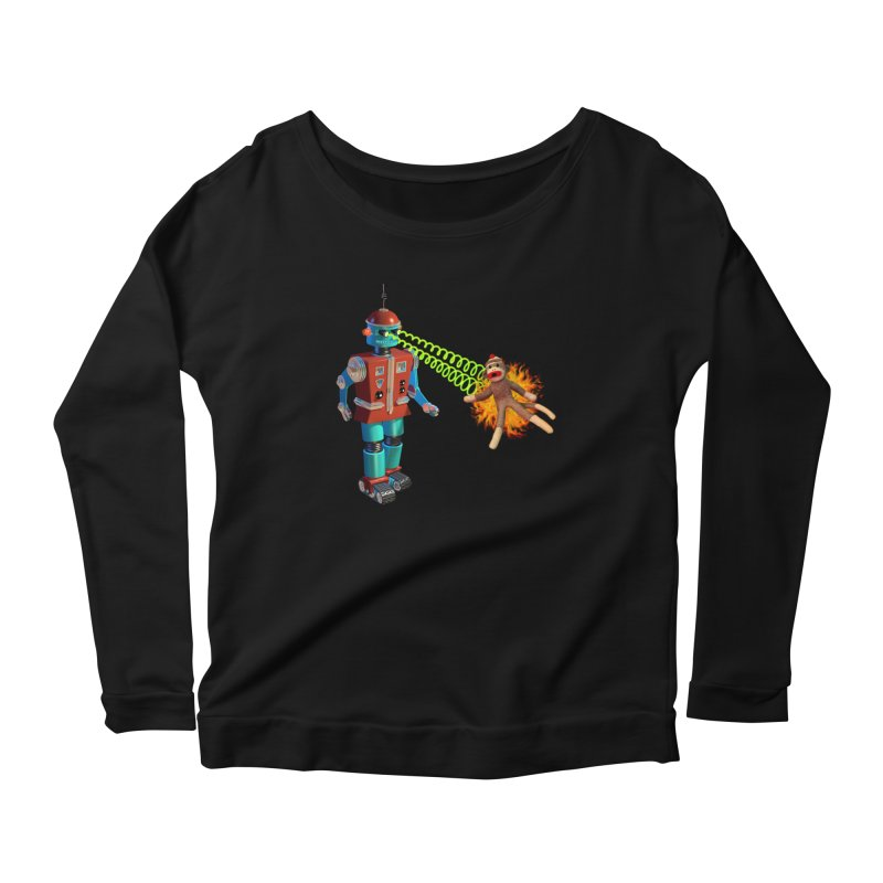 Robot vs Sock Monkey Women's Scoop Neck Longsleeve T-Shirt by richgrote's Shop