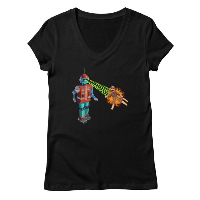 Robot vs Sock Monkey Women's V-Neck by richgrote's Shop