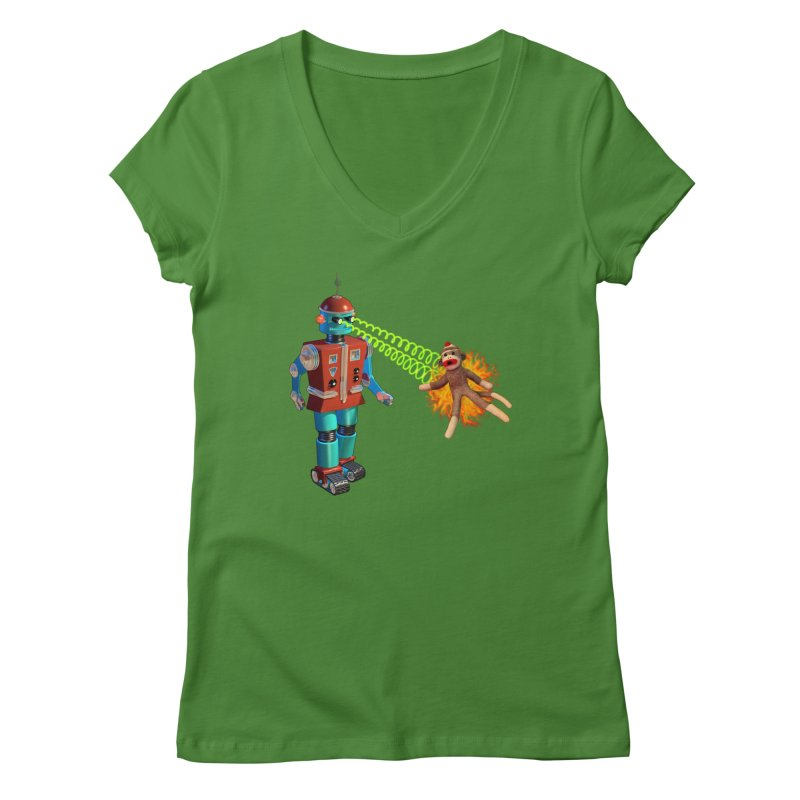 Robot vs Sock Monkey Women's V-Neck by richgrote's Shop