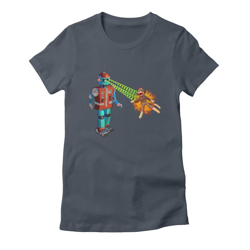 Robot vs Sock Monkey Women's Fitted T-Shirt by richgrote's Shop