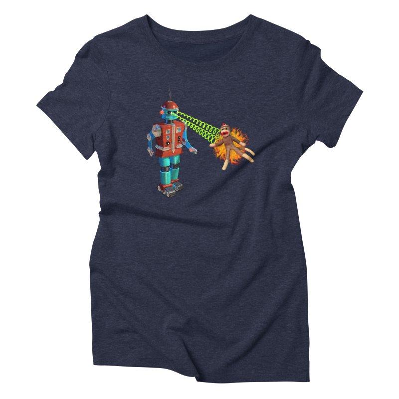 Robot vs Sock Monkey Women's Triblend T-shirt by richgrote's Shop
