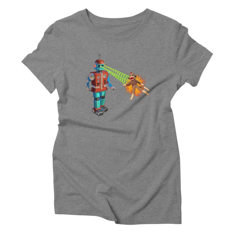 Robot vs Sock Monkey Women's Triblend T-Shirt by richgrote's Shop
