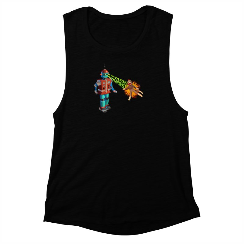 Robot vs Sock Monkey Women's Muscle Tank by richgrote's Shop