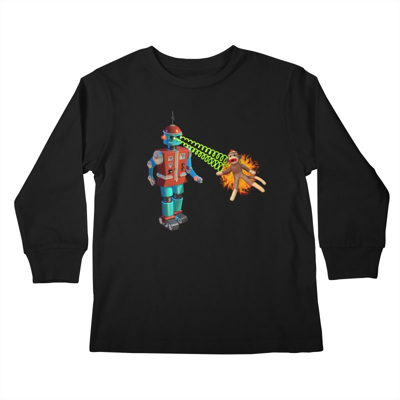 Robot vs Sock Monkey Kids Longsleeve T-Shirt by richgrote's Shop