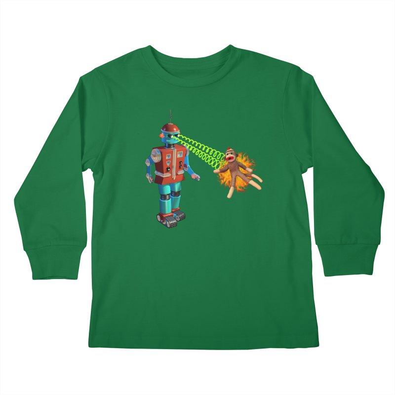 Robot vs Sock Monkey Kids Longsleeve T-Shirt by richgrote's Shop