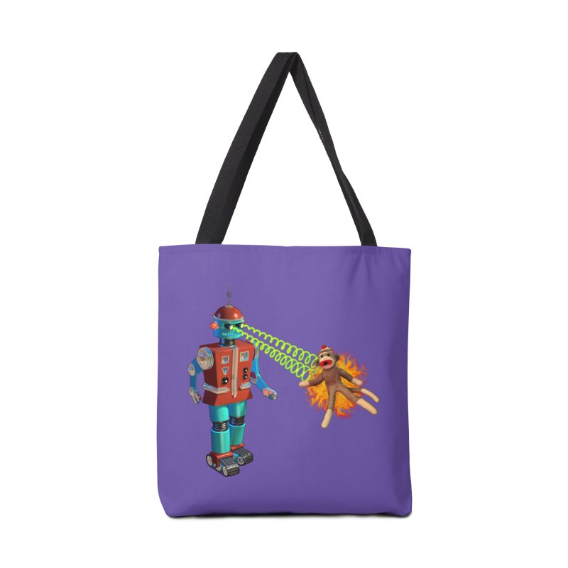 Robot vs Sock Monkey Accessories Bag by richgrote's Shop