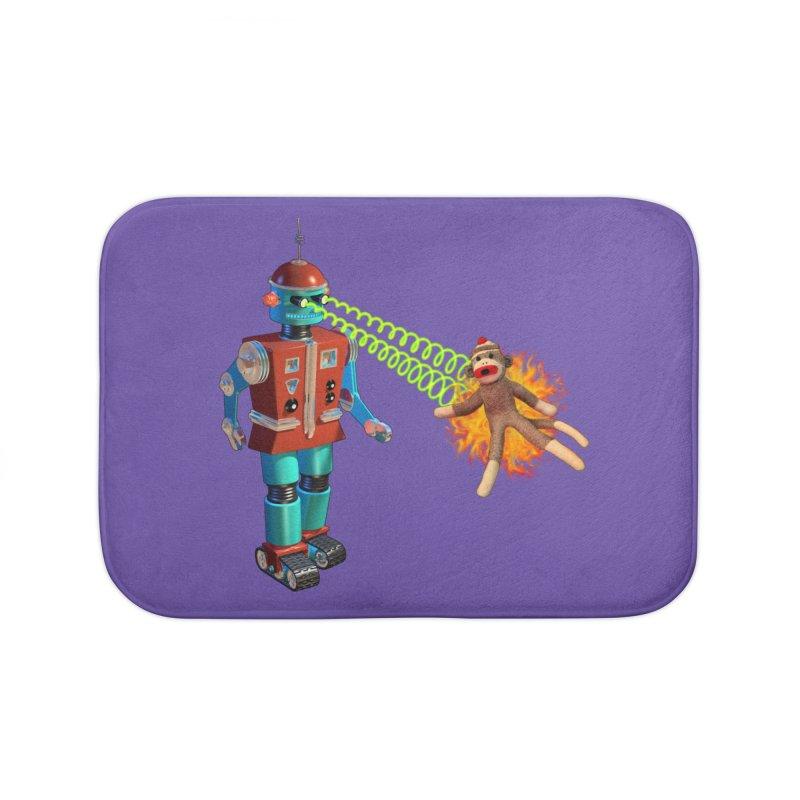 Robot vs Sock Monkey Home Bath Mat by richgrote's Shop