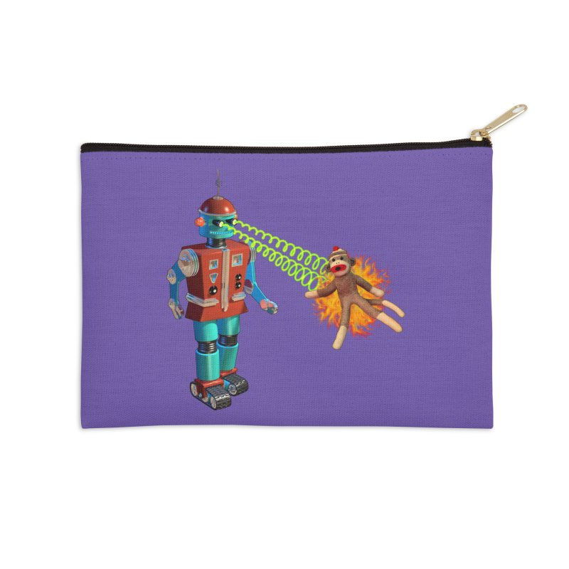 Robot vs Sock Monkey Accessories Zip Pouch by richgrote's Shop