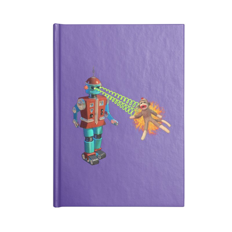 Robot vs Sock Monkey Accessories Notebook by richgrote's Shop