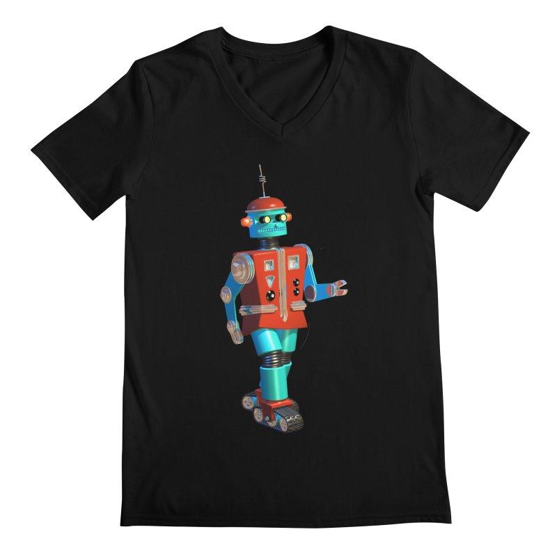 Robot Happiness Men's Regular V-Neck by richgrote's Shop