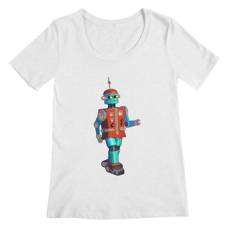 Robot Happiness Women's Regular Scoop Neck by richgrote's Shop