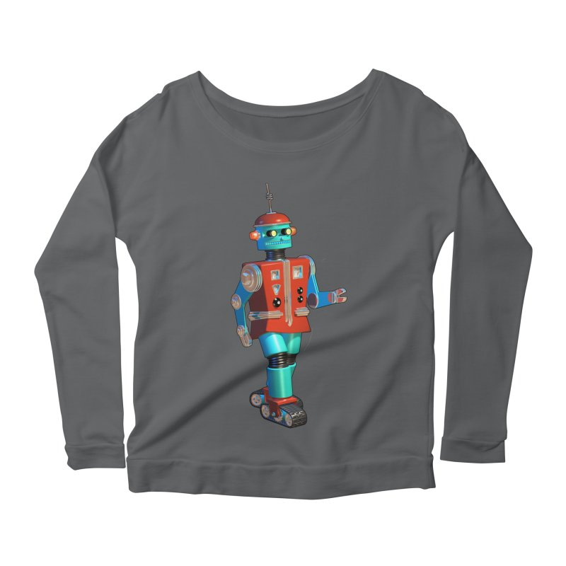 Robot Happiness Women's Scoop Neck Longsleeve T-Shirt by richgrote's Shop