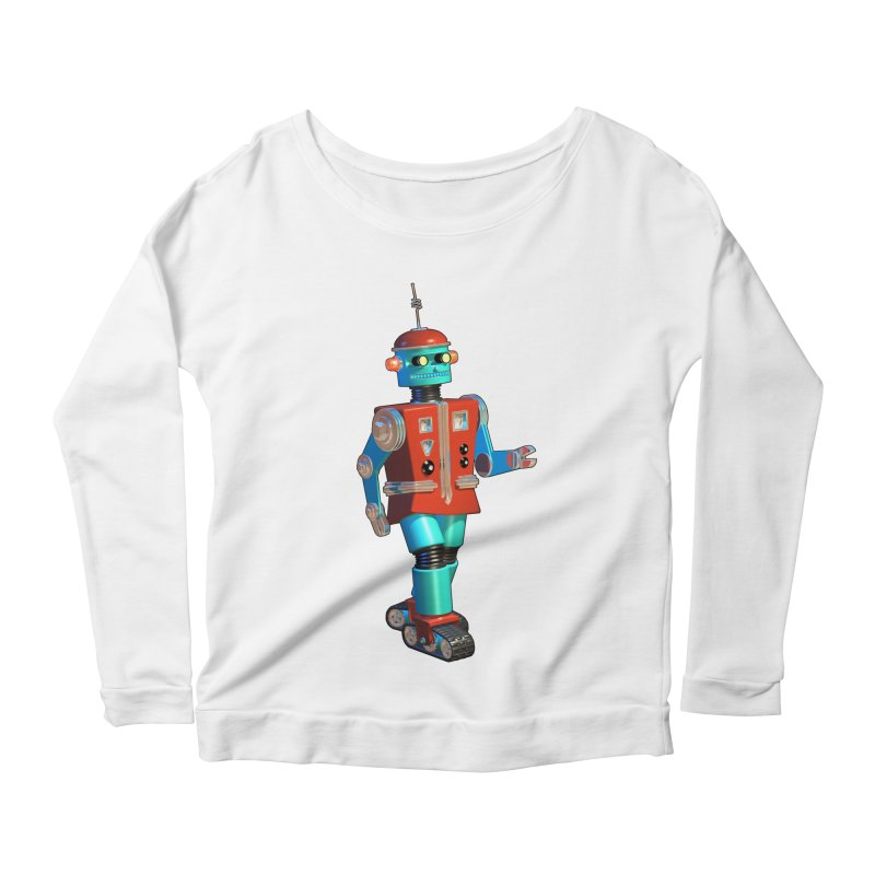 Robot Happiness Women's Longsleeve Scoopneck  by richgrote's Shop