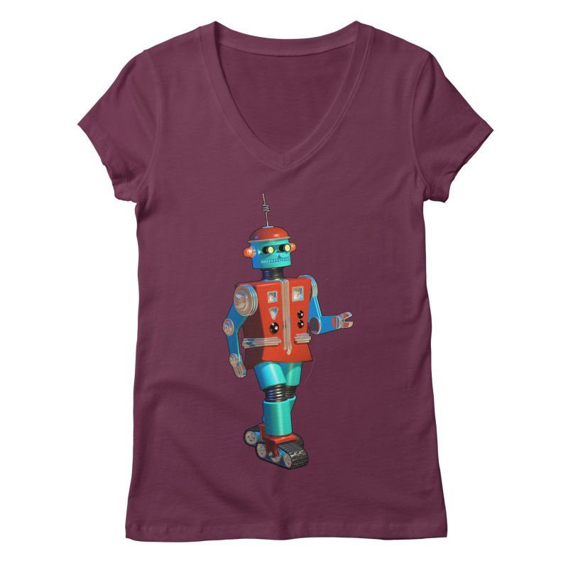 Robot Happiness Women's Regular V-Neck by richgrote's Shop