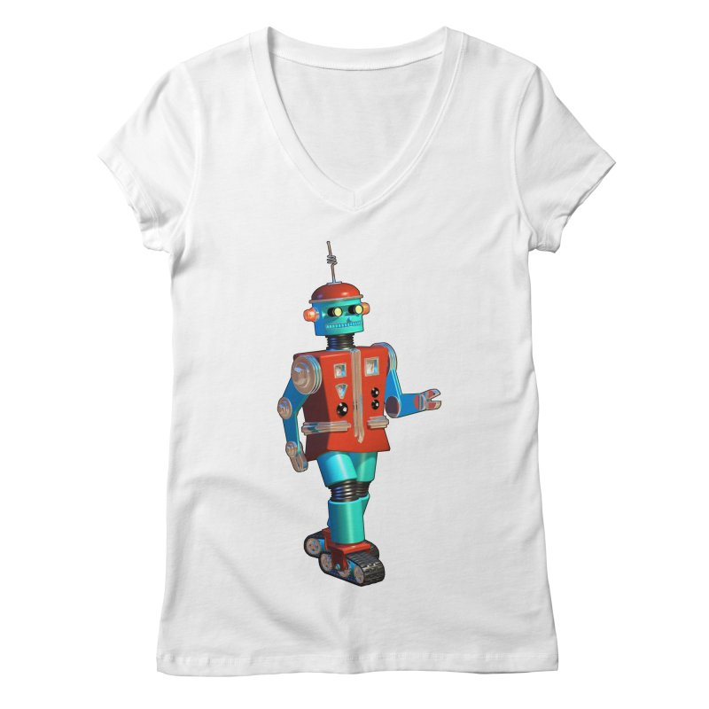Robot Happiness Women's V-Neck by richgrote's Shop