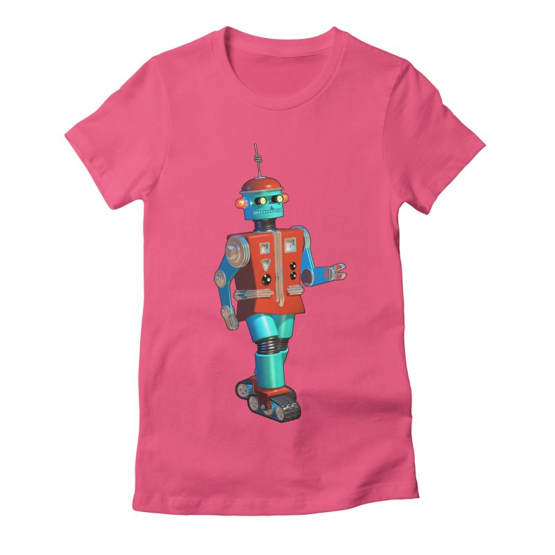 Robot Happiness Women's Fitted T-Shirt by richgrote's Shop