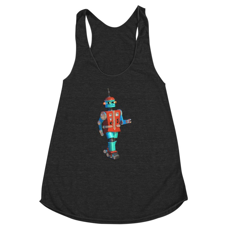Robot Happiness Women's Racerback Triblend Tank by richgrote's Shop