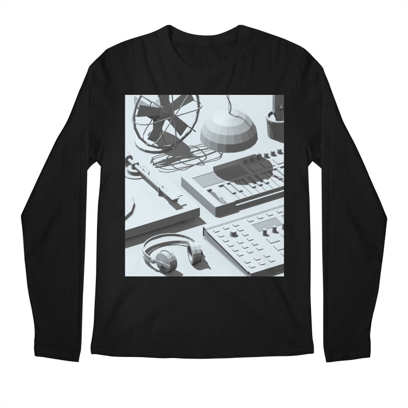 Low Poly Objects Grey Men's Longsleeve T-Shirt by Rickard Arvius