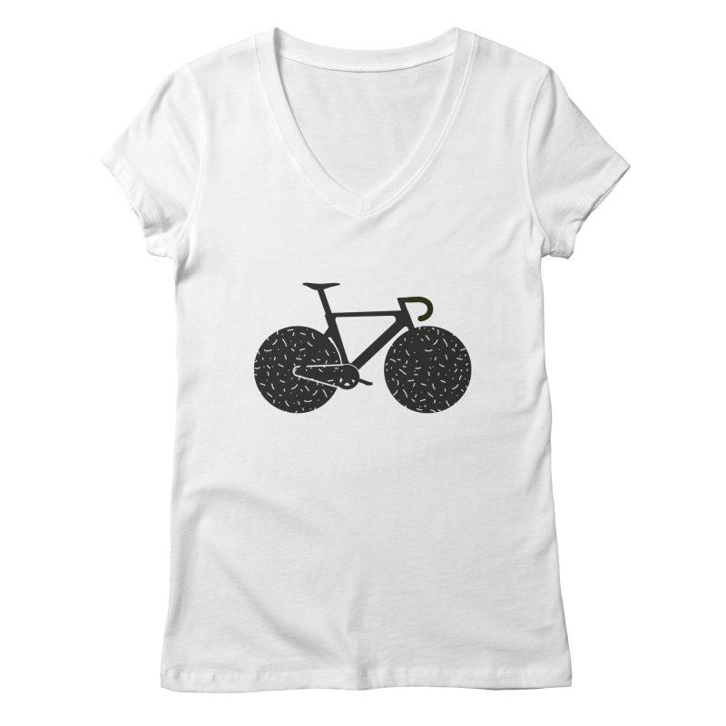 Track Bike Women's Regular V-Neck by Rickard Arvius