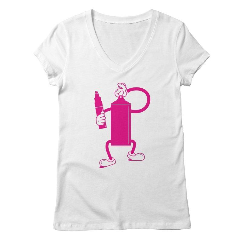 Mr Spray Can Women's V-Neck by Rickard Arvius