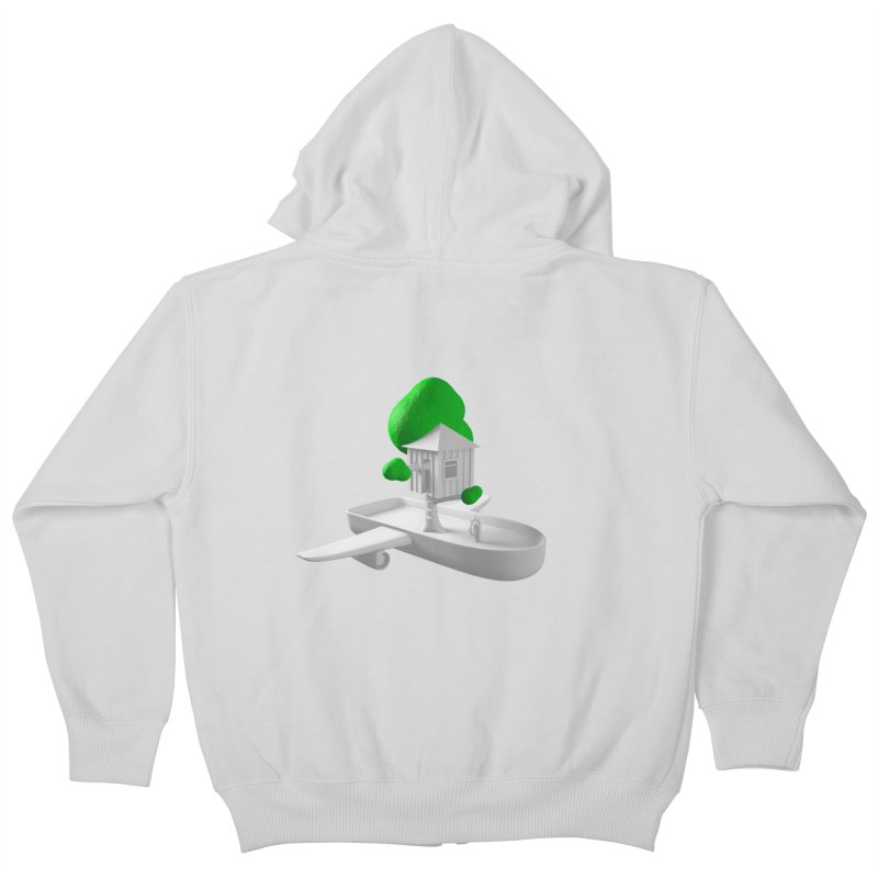 Tree House Boat Kids Zip-Up Hoody by Rickard Arvius