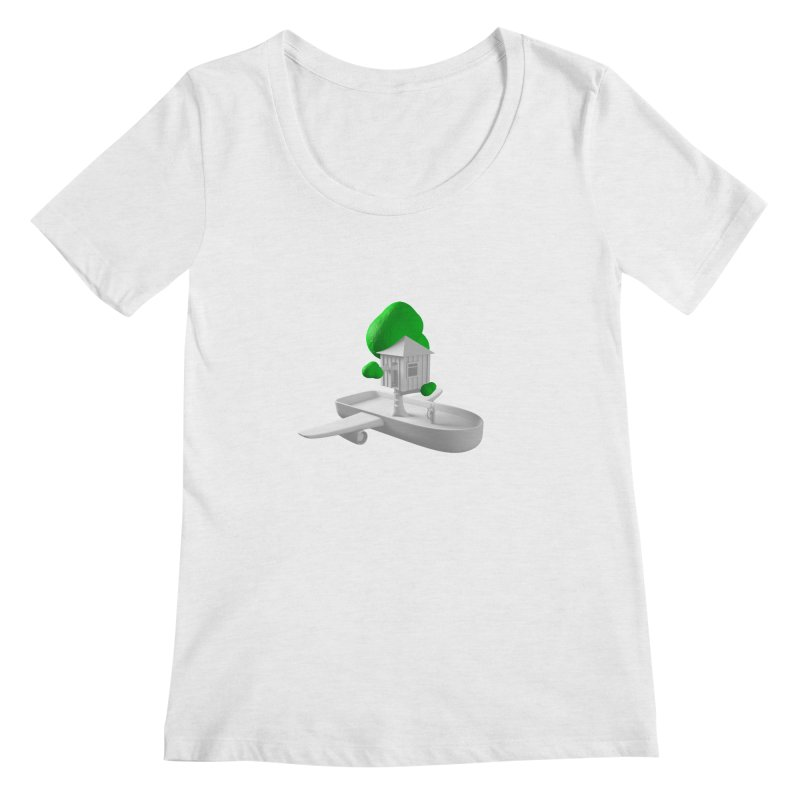 Tree House Boat Women's Regular Scoop Neck by Rickard Arvius