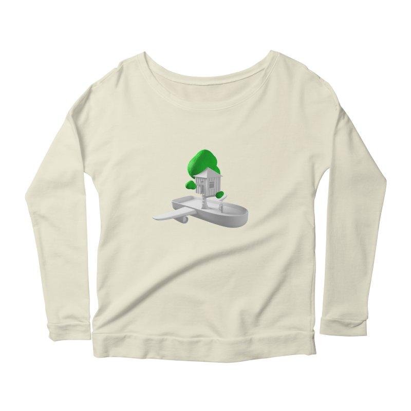 Tree House Boat Women's Scoop Neck Longsleeve T-Shirt by Rickard Arvius