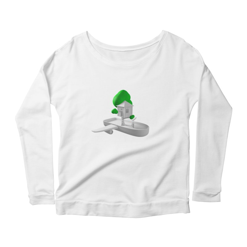 Tree House Boat Women's Scoop Neck Longsleeve T-Shirt by Rickard Arvius