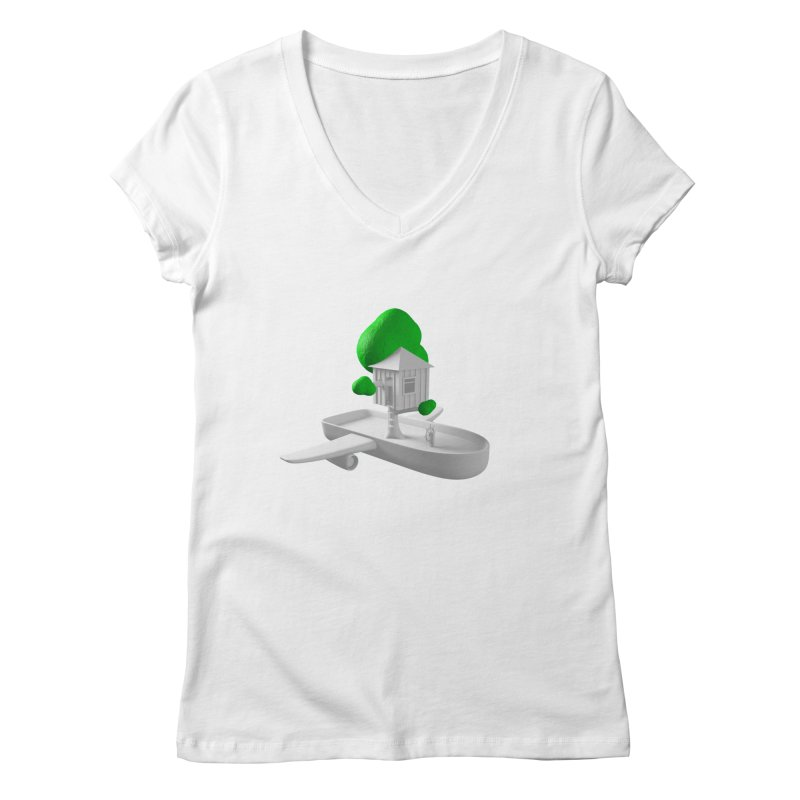 Tree House Boat Women's V-Neck by Rickard Arvius