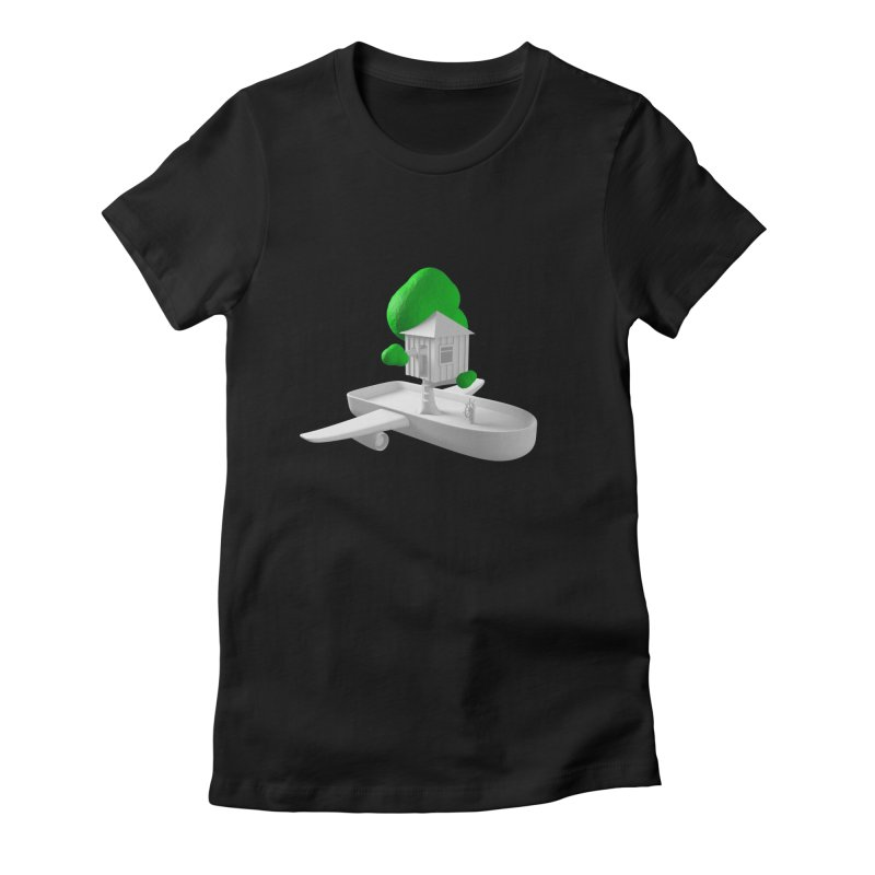 Tree House Boat Women's Fitted T-Shirt by Rickard Arvius