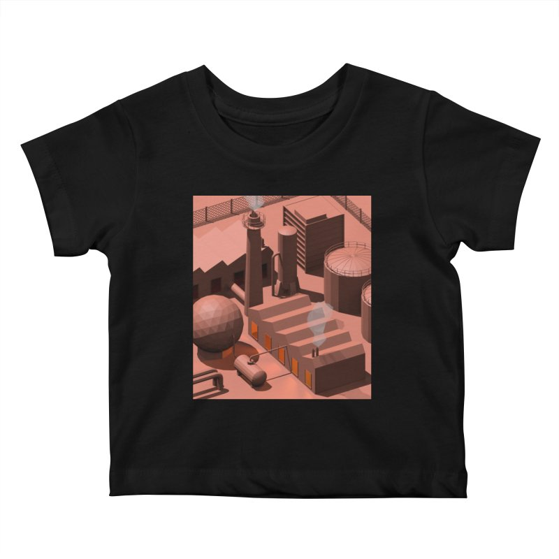 Low Poly Industry Kids Baby T-Shirt by Rickard Arvius